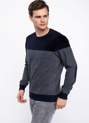 DeFacto Slim Fit Sweatshirt Mavi
